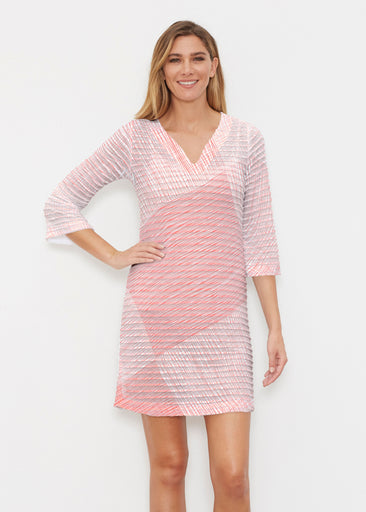 Sketch Coral (14213) ~ Banded 3/4 Sleeve Cover-up Dress