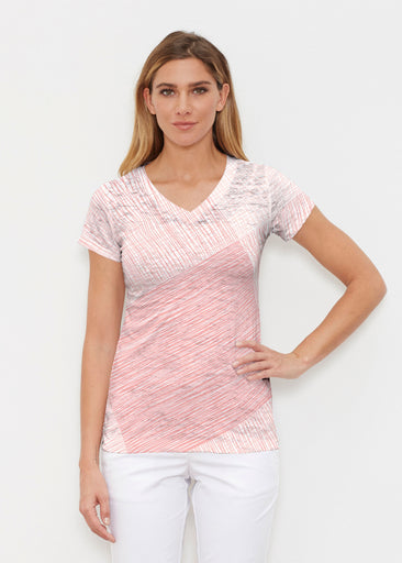 Sketch Coral (14213) ~ Signature Cap Sleeve V-Neck Shirt