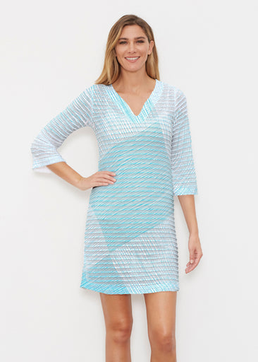 Sketch Aqua (14214) ~ Banded 3/4 Sleeve Cover-up Dress