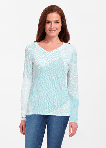 Sketch Aqua (14214) ~ Classic V-neck Long Sleeve Top