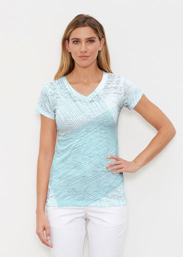 Sketch Aqua (14214) ~ Signature Cap Sleeve V-Neck Shirt