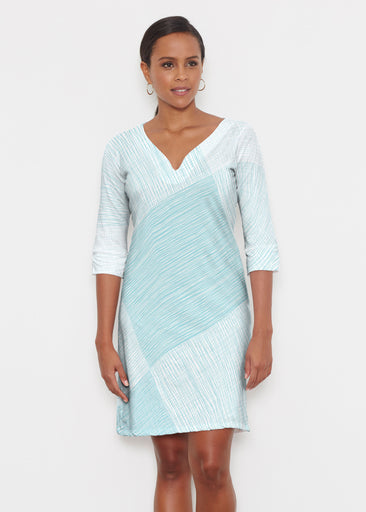 Sketch Aqua (14214) ~ Classic 3/4 Sleeve Sweet Heart V-Neck Dress