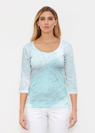 Sketch Aqua (14214) ~ Signature 3/4 Sleeve Scoop Shirt