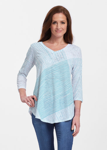Sketch Aqua (14214) ~ V-neck Flowy Tunic