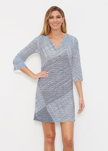Sketch Blue (14216) ~ Banded 3/4 Sleeve Cover-up Dress