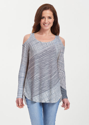 Sketch Blue (14216) ~ Butterknit Cold Shoulder Tunic