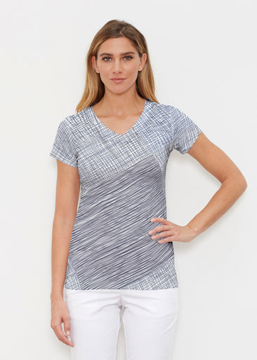 Sketch Blue (14216) ~ Signature Cap Sleeve V-Neck Shirt