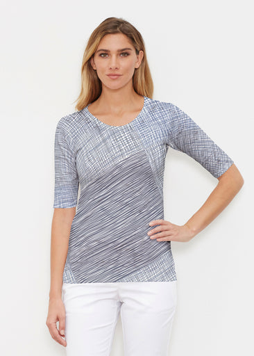 Sketch Blue (14216) ~ Signature Signature Elbow Sleeve Crew Shirt