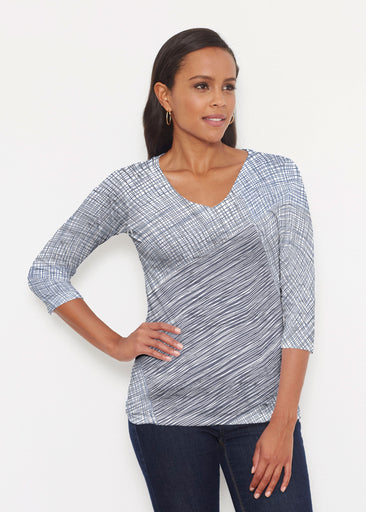 Sketch Blue (14216) ~ Signature 3/4 V-Neck Shirt