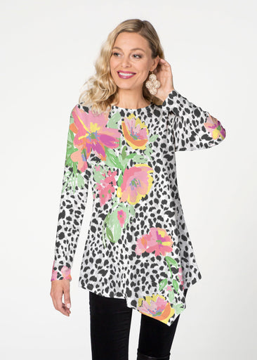 Spring Leopard Floral (14225) ~ Asymmetrical French Terry Tunic