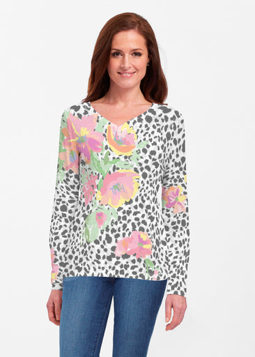 Spring Leopard (14225) ~ Classic V-neck Long Sleeve Top