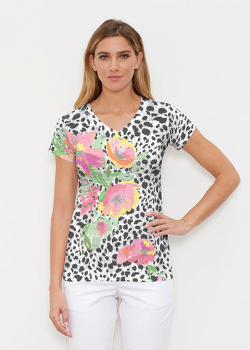 Spring Leopard (14225) ~ Signature Cap Sleeve V-Neck Shirt