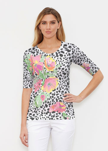 Spring Leopard (14225) ~ Elbow Sleeve Crew Shirt