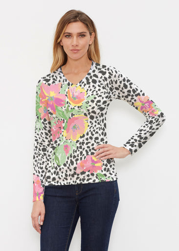 Spring Leopard (14225) ~ Butterknit Long Sleeve V-Neck Top