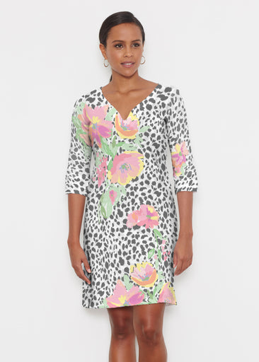 Spring Leopard (14225) ~ Classic 3/4 Sleeve Sweet Heart V-Neck Dress