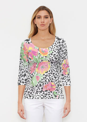 Spring Leopard (14225) ~ Signature 3/4 Sleeve Scoop Shirt