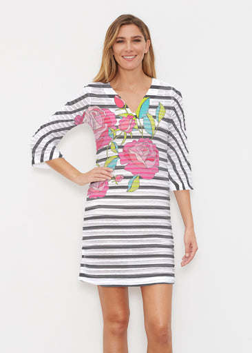Rosie Stripe (14226) ~ Banded 3/4 Sleeve Cover-up Dress