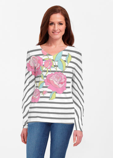 Rosie Stripe (14226) ~ Classic V-neck Long Sleeve Top