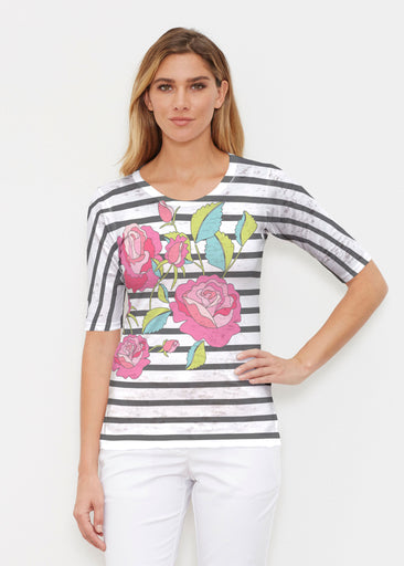 Rosie Stripe (14226) ~ Elbow Sleeve Crew Shirt