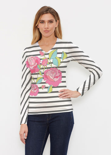 Rosie Stripe (14226) ~ Butterknit Long Sleeve V-Neck Top
