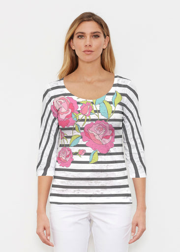 Rosie Stripe (14226) ~ Signature 3/4 Sleeve Scoop Shirt