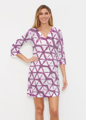 Tie Dye Web (14228) ~ Banded 3/4 Sleeve Cover-up Dress