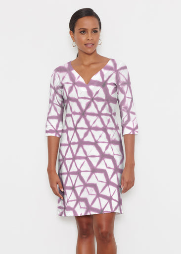 Tie Dye Web (14228) ~ Classic 3/4 Sleeve Sweet Heart V-Neck Dress