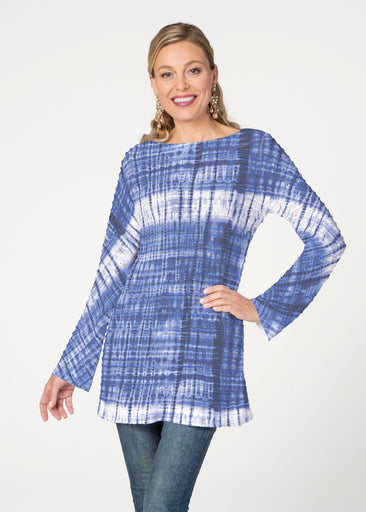 Denim Tie Dye (14230) ~ Banded Boatneck Tunic