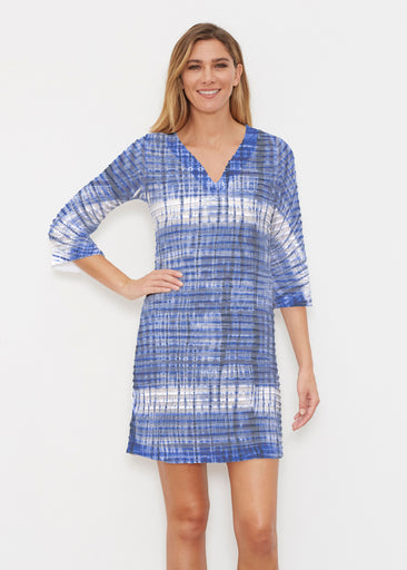 Denim Tie Dye (14230) ~ Banded 3/4 Sleeve Cover-up Dress
