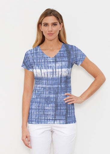 Denim Tie Dye (14230) ~ Signature Cap Sleeve V-Neck Shirt