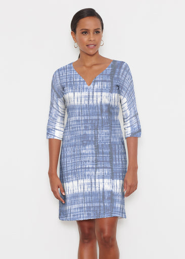 Denim Tie Dye (14230) ~ Classic 3/4 Sleeve Sweet Heart V-Neck Dress
