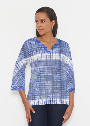 Denim Tie Dye (14230) ~ Banded 3/4 Bell-Sleeve V-Neck Tunic