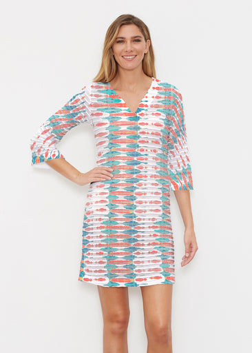 Ink Blot (14245) ~ Banded 3/4 Sleeve Cover-up Dress