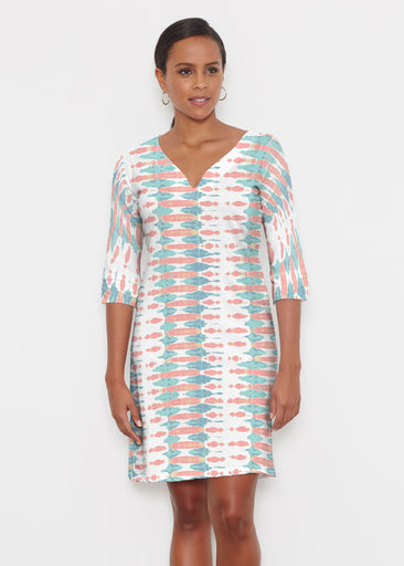 Ink Blot (14245) ~ Classic 3/4 Sleeve Sweet Heart V-Neck Dress