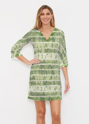 Striation Green (14250) ~ Banded 3/4 Sleeve Cover-up Dress