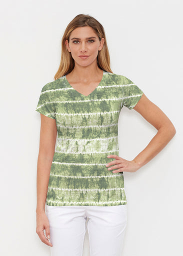 Striation Green (14250) ~ Signature Cap Sleeve V-Neck Shirt