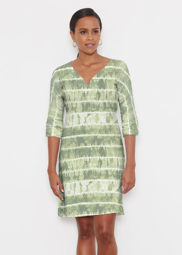Striation Green (14250) ~ Classic 3/4 Sleeve Sweet Heart V-Neck Dress