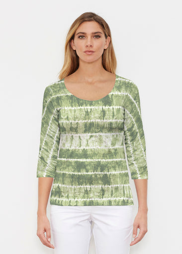 Striation Green (14250) ~ Signature 3/4 Sleeve Scoop Shirt