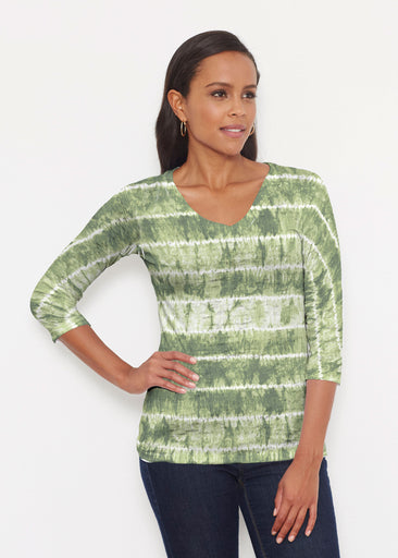 Striation Green (14250) ~ Signature 3/4 V-Neck Shirt