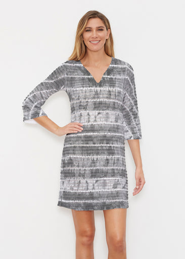 Striation Grey (14251) ~ Banded 3/4 Sleeve Cover-up Dress