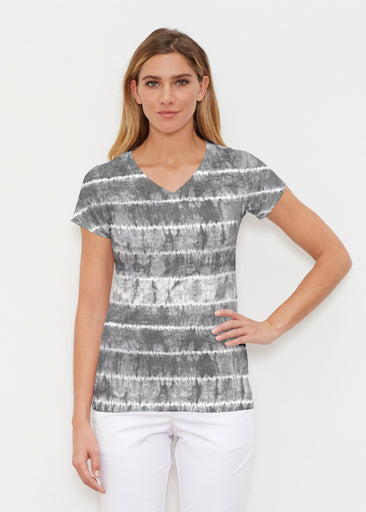 Striation Grey (14251) ~ Signature Cap Sleeve V-Neck Shirt