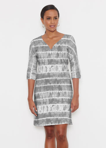 Striation Grey (14251) ~ Classic 3/4 Sleeve Sweet Heart V-Neck Dress