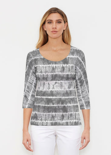 Striation Grey (14251) ~ Signature 3/4 Sleeve Scoop Shirt