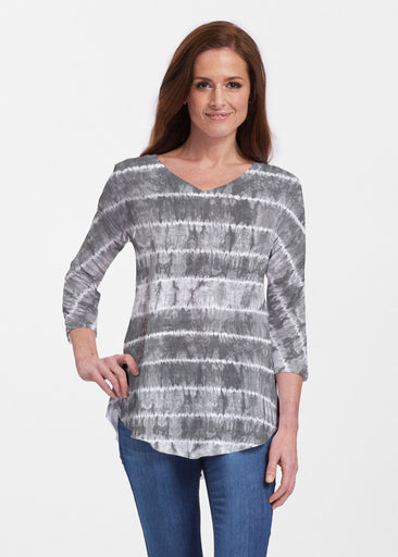 Striation Grey (14251) ~ Signature V-neck Flowy Tunic