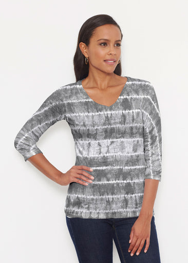 Striation Grey (14251) ~ Signature 3/4 V-Neck Shirt