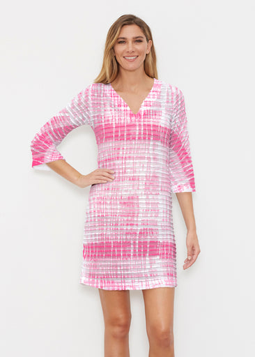 Pink Tie Dye (14254) ~ Banded 3/4 Sleeve Cover-up Dress
