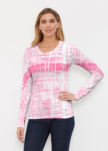 Pink Tie Dye (14254) ~ Thermal Long Sleeve Crew Shirt