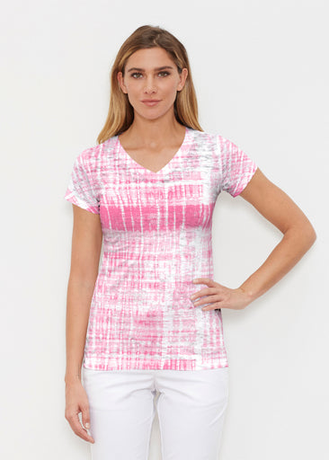 Pink Tie Dye (14254) ~ Signature Cap Sleeve V-Neck Shirt