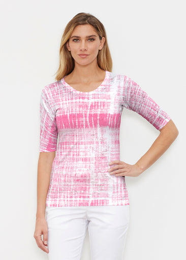 Pink Tie Dye (14254) ~ Signature Elbow Sleeve Crew Shirt