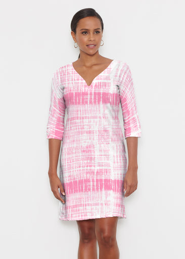 Pink Tie Dye (14254) ~ Classic 3/4 Sleeve Sweet Heart V-Neck Dress